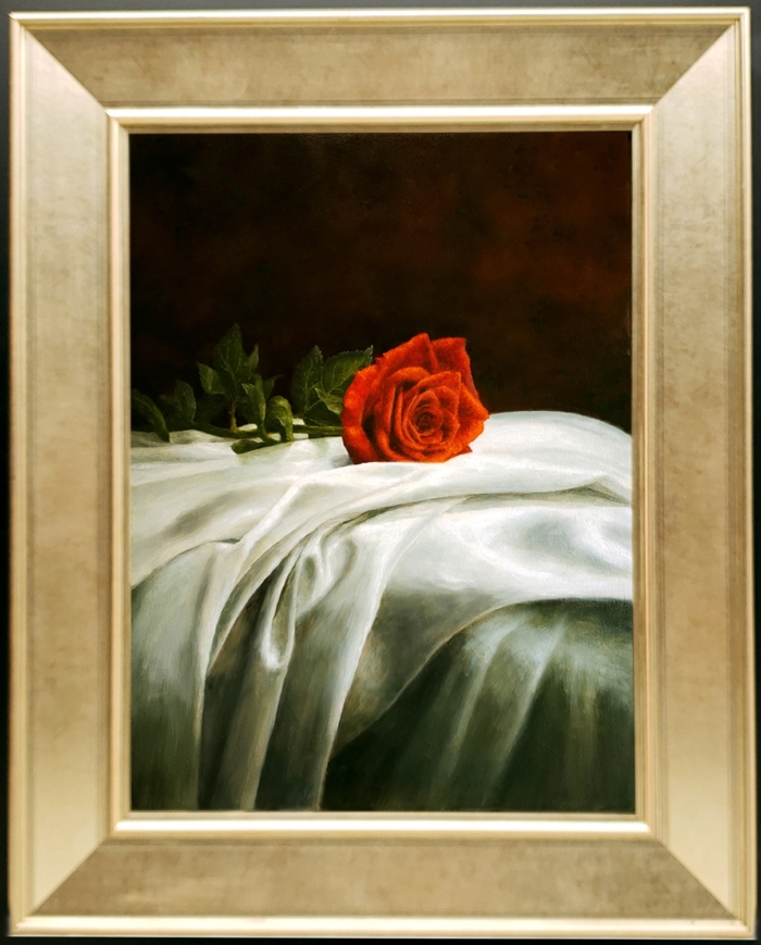 DRAPED ROSE FRAMED